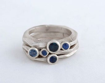 Stacked Sterling Ringset with Blue Sapphires