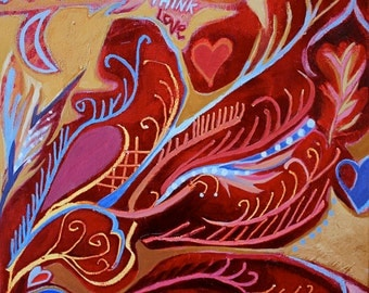 Painting, Think Love, Crimson Angel Wing, original acrylic on gallery wrapped canvas