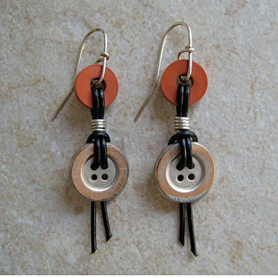 Earrings, Distressed Metal Button, Red Rubber Washer, Knotted Black Leather, Sterling Silver Wires