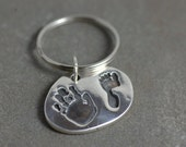 Handprint and Footprint Keychain - Baby Handprint Keychains - Handprint Keychains - Personalized Keychain - Handprint Keyring - Gifts Men