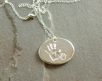 Mother and Daughter Necklace, Mother and Son Necklace, Handprint Jewelry, Baby Jewelry, Handprint Necklace, Mother and Child Pendant