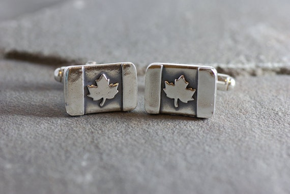Sterling Silver Canada Maple Leaf Flag Cufflinks ~ Gifts for Canadians, Canadian Grooms, Cufflinks for Canadians, Wedding Cufflinks, Leaf