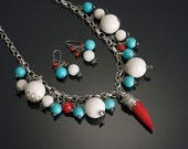 Paradise : Fine Silver  Necklace and Matching Earrings