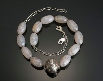 Rose Agate Necklace with Large Offset Fine Silver Focal Bead