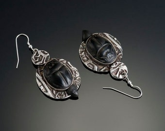 Fine Silver Sacred Scarab Earrings