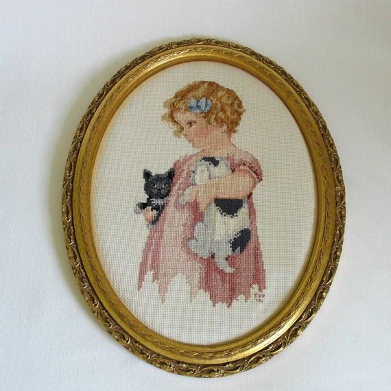 Framed Cross-Stitched Wall Hanging..Bessie Pease Gutmann