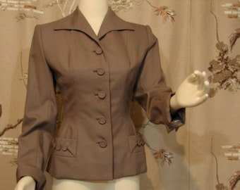 Beautifully Tailored Wasp-Waist Jacket Circa 1940's