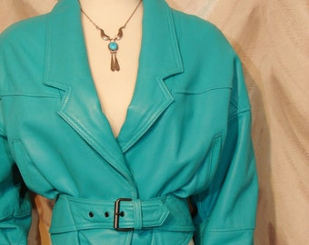 Jacket - Leather - TURQUOISE - Circa 1980's - Pelle Studio