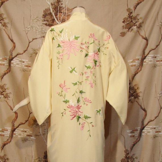 RESERVED - Kimono - Pastel Floral - PRETTY - Pale Yellow