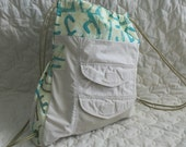 Cargo backpack with batik trim and velcro pockets - Ready to Ship