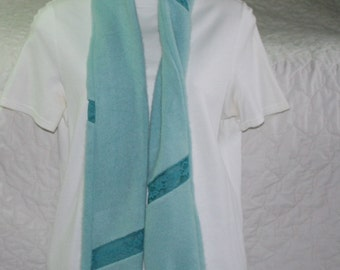 Cashmere and Lace Scarf  in Aqua blue