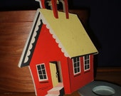 Mary Had a Little Lamb schoolhouse, Dolly Toy Co, wall decoration, 1950s