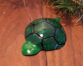 Metal turtle ornament, hand formed and painted aluminum