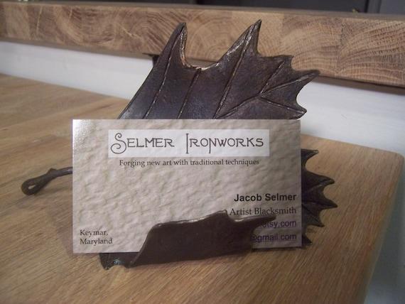 Maple leaf business card holder, ironwork