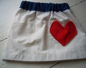 4th of July girl's skirt with heart pocket Custom Made 6 months- 5T