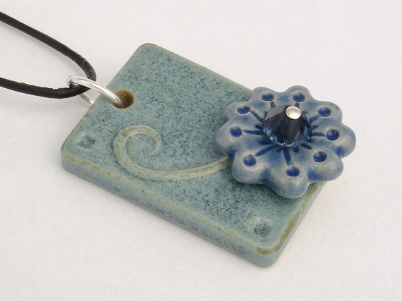 Slate blue - a stalk of flower on rectangular pendant (JSB-N017-3a)