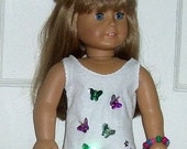 American Girl Doll Clothes White Swimsuit Set with 2 Dimensional Butterflies and Flowers