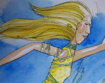 Falling with green ribbons original watercolor painting