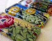 Flowering Cactus Glass Tile Magnet Set