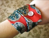 Red Tie Silk Fabric Cuff Bracelet