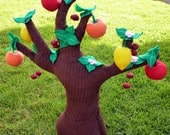 Plush Apple Tree with Felt Garden Fruits - Woodland Fruit Tree with Pick Able Felt Fruit Educational Toy for Children - Felt Garden Toy Tree