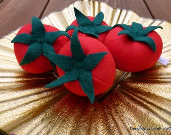 Felt Tomatoes - Red Felt Tomato Pretend Play Food - Felt Garden Tomatoes for Children - Felt Pretend Play Food Tomatoes in a Set of 2