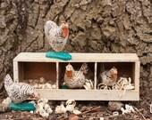 Dominicker Chicken Quartet and Nest Box (Nos. 119-122)