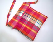 Pink Plaid Gingham Cross Body Fold Over Bag