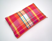Pink Plaid Gingham Zippered Pouch