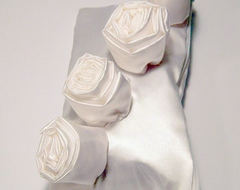 White Satin Clutch with White Roses