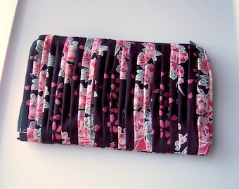 Black Pleated Clutch with Flowers