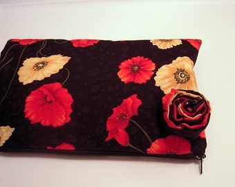 Black and Red Flowers Wristlet with Rolled Rose