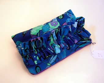 Blue and Purple Ruffle Zippered Pouch