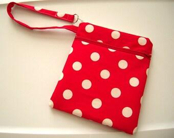 Red and White Polka Dot Double Zipper Wristlet