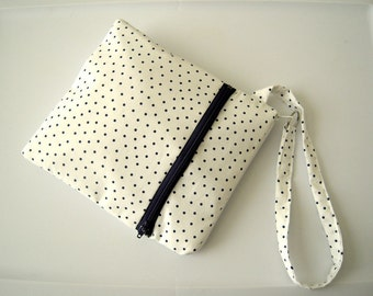White and Blue Polka Dot Double Zippered Wristlet