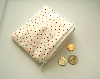 White and Red Polka Dot Small Zippered Pouch