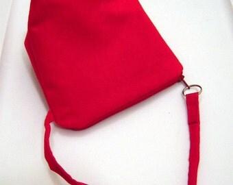 Red Suede Flat Bottom Wristlet