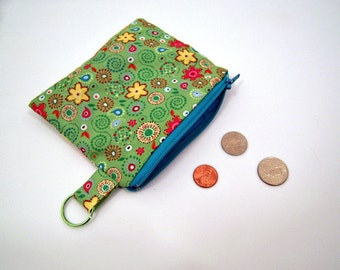 Coin Pouch in Green Paisley