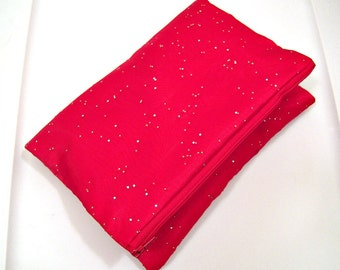 Fold Over Clutch in Red Sparkle