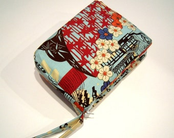 Blue Cherry Blossoms and Stars Wristlet