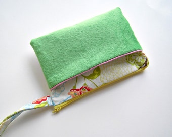 Fuzzy Green Wristlet with Floral & Birds Cotton