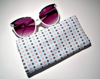 Blue and Pink Polka Dot Glasses Case