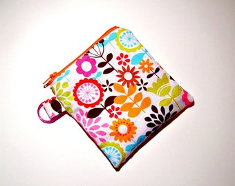 Spring Flowers Zippered Coin Pouch