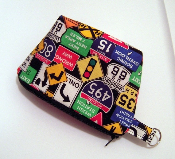 Zippered Pouch in Road Signs