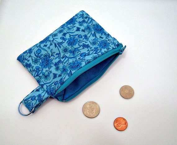 Blue Flowers Coin Pouch