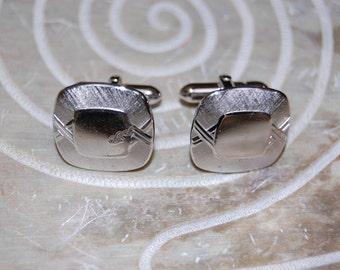 Vintage SWANK Silver Tone Cuff Links