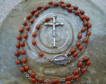 Vintage Brown Beaded Rosary from Italy