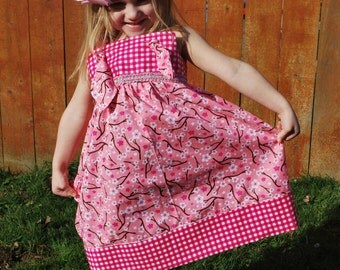 Custom Spring/Summer Pink Cherry Blossom Knot Dress - ready to ship size 3/4T