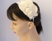 Vintage Style Ivory Flower Sculpted Headband