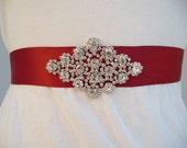 RED Rhinestone Bridal Sash, Wedding Sash, Rhinestone Sash, Bridesmaid Sash, Satin Sash, Bridal Belt